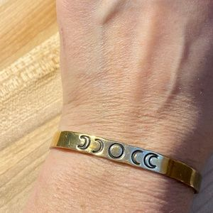 moon phases brass cuff bracelet.